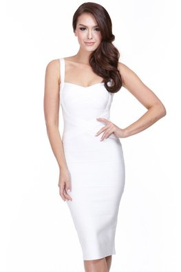 Assorted Colours Sweetheart Cross Bandage Dress