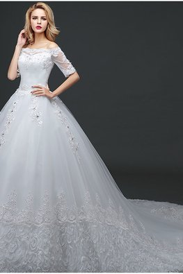Off-Shoulder Lace Elbow Sleeves A-Line Wedding Gown with Court Train