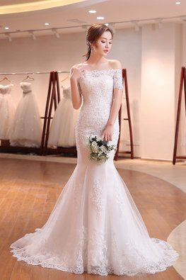 Off-Shoulder Lace Satin Mermaid Wedding Gown with Court Train