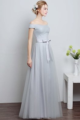 Grey Off-Shoulder Floor Length Gown