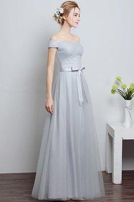 Grey Off-Shoulder Floor Length Gown