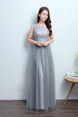 Grey Jewel Neckline Sleeveless Lace A-Line Gown (Express)