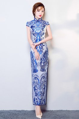 White Blue Mandarin Collar Cap Sleeves Lotus Cheongsam