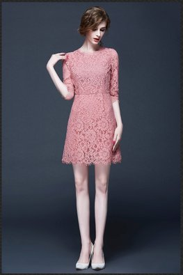 Pink Scallop Hem Lace Dress (Express)