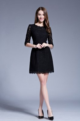 Black Scallop Hem Lace Dress (Express)