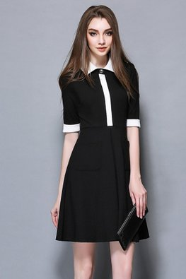 Black White Cuffs A-Line Dress