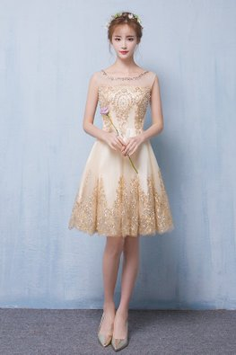 Nude Gold / Red Illusion Neckline Sequins Pearl Sheer Back  A-Line Gown
