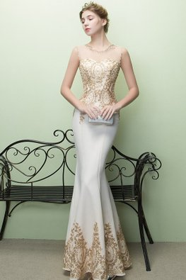 Assorted Colours Illusion Neckline Sequins Pearls Trumpet Gown