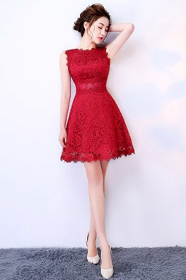 Red Bateau Neckline A-Line Lace Dress (Express)