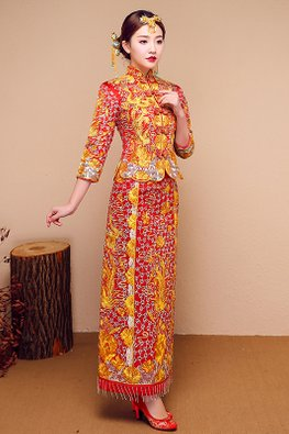 Yellow Gold Red 3/4 Sleeves Chinese Knots Dragon Pheonix Embroidery Traditional Kua