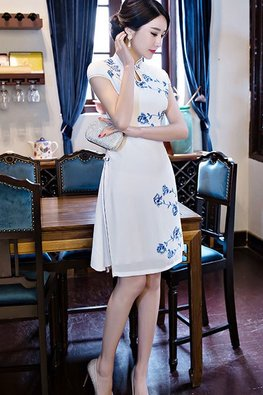 White / Blue Trimmings Ao Dai Cheongsam