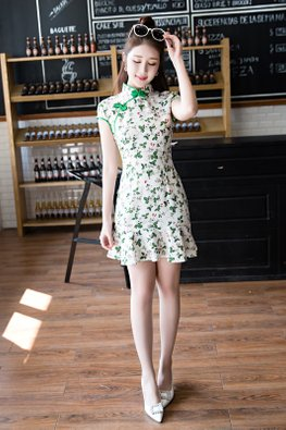 White Green Trimmings Strawberry Prints Mermaid Mini Cheongsam