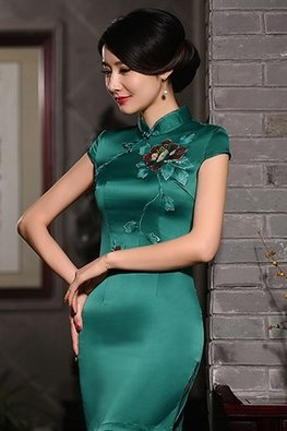 Green Mandarin Collar Red Floral Cheongsam