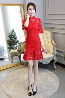 Assorted Colours Mandarin Collar Trumpet Sleeves Mermaid Cheongsam