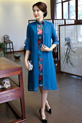 Assorted Colours 2-pc Keyhole Collar A-Line Cheongsam