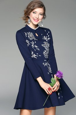 Navy Blue Mandarin Collar Keyhole Floral Embroidery Full Sleeve Dress