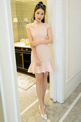 Pastel Blue / Peach Lace Cap Sleeve Mermaid Cheongsam