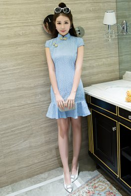 Pastel Blue Lace Cap Sleeve Mermaid Cheongsam (Express)