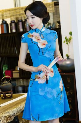 White / Blue Trimmings Ao Dai Cheongsam (Express)
