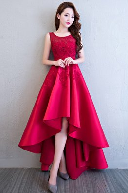 Assorted Colours Jewel Neckline Applique Hi-Lo Gown
