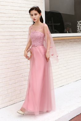 Dusty Pink Sheer Cape Butterflies Lace Gown