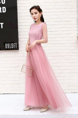 Dusty Pink Jewel Neckline Elbow Sheer Sleeves Butterflies Lace Gown