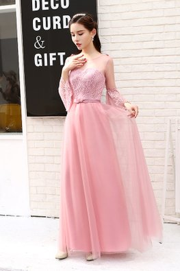 Dusty Pink Sheer Illusion Neckline Bell Sleeves Lace Gown