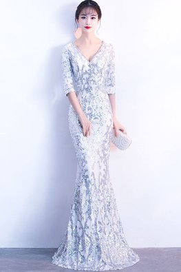 Assorted Colours V-Neck Elbow Sleeves Trumpet Sequins Gown