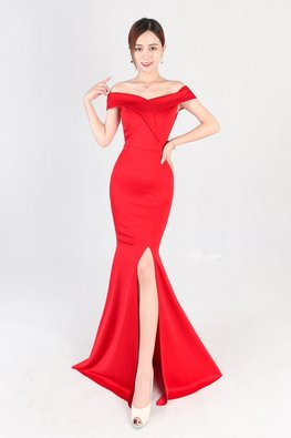 Assorted Colours Off-Shoulder High Slit Gown