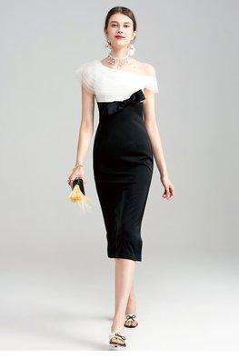 Black White One-Shoulder Bow High Slit Dress