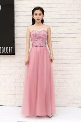 Dusty Pink Sweetheart Butterflies Lace Gown