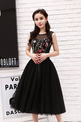 Black Illusion Neckline Floral A-Line Gown