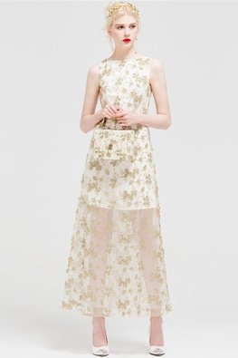 White Sleeveless Mesh Hem with Gold Embellishments Dress