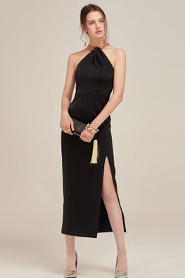 Black Halter Keyhole Neckline High Slit Dress