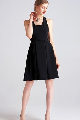 Black Ribbon Halter Neck Bare Back  A-line Dress