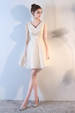 Champagne V-Neck Embroidery Lace Gown (Express)