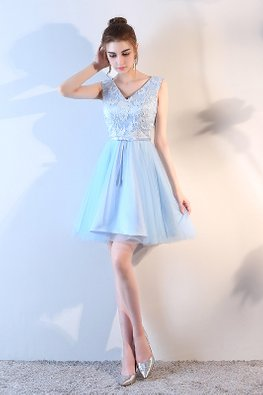 Assorted Colours V-Neck Embroidery Lace Gown