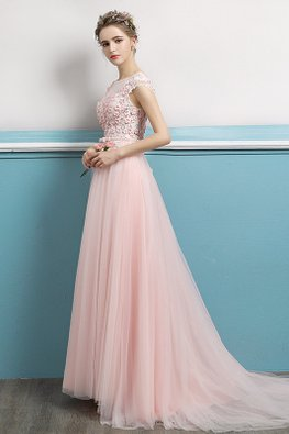 Pink Illusion Neckline Cap Sleeves Floral Gown with Sweep Train