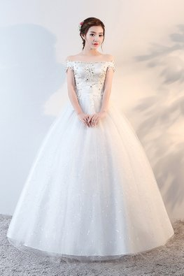 Off-Shoulder Gem Applique Twinkle Skirt Wedding Ball Gown (Express)