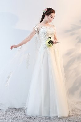 Illusion Neckline Cape Watteau Train A-Line Wedding Gown