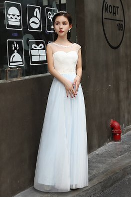 White Blue Illusion Neckline Cap Sleeves Dreamy Gown