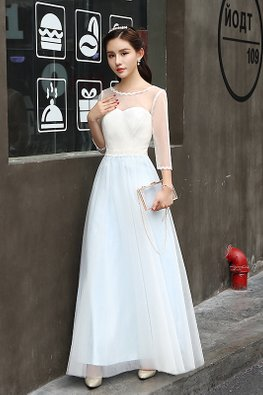 White Blue Illusion Neckline 3/4 Sleeves Dreamy Gown
