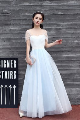 White Blue Sweetheart Neckline Drape Sleeves Dreamy Gown