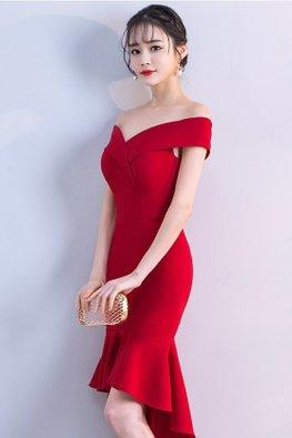 Assorted Colours Off-Shoulder Hi-Lo Mermaid Gown