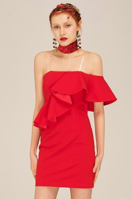 Red Ruffled Single Off-Shoulder Tube Dress