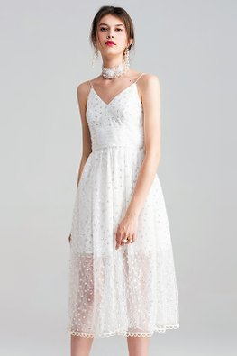 White V-Neck Mesh Hem Sequin Dress