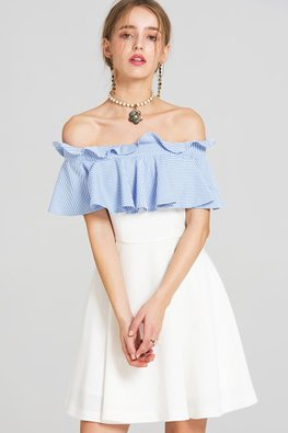 Blue White Off-Shoulder Ruffled A-line Dress
