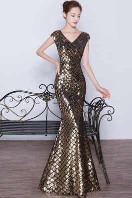 Assorted Colours V-Neck Sheer  Back Sequin Mermaid Gown