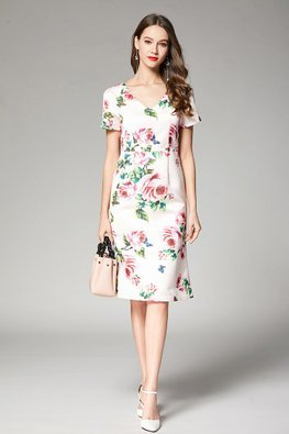 Pink V-Neck Roses Print Sheath Dress