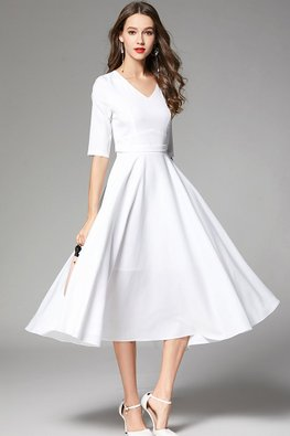 White V-Neck Elbow Sleeves Dress